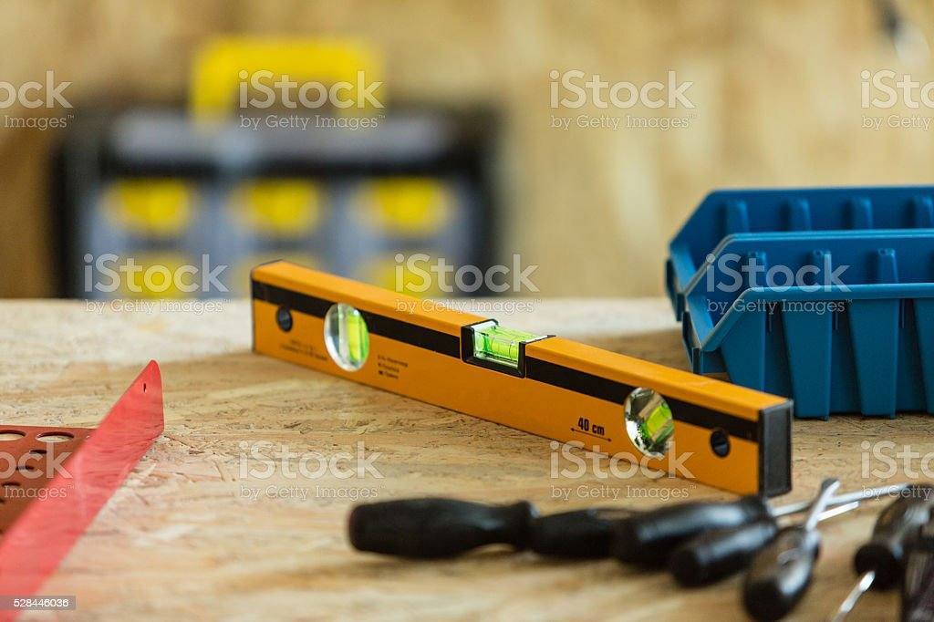 Hand tools in workshop stock photo