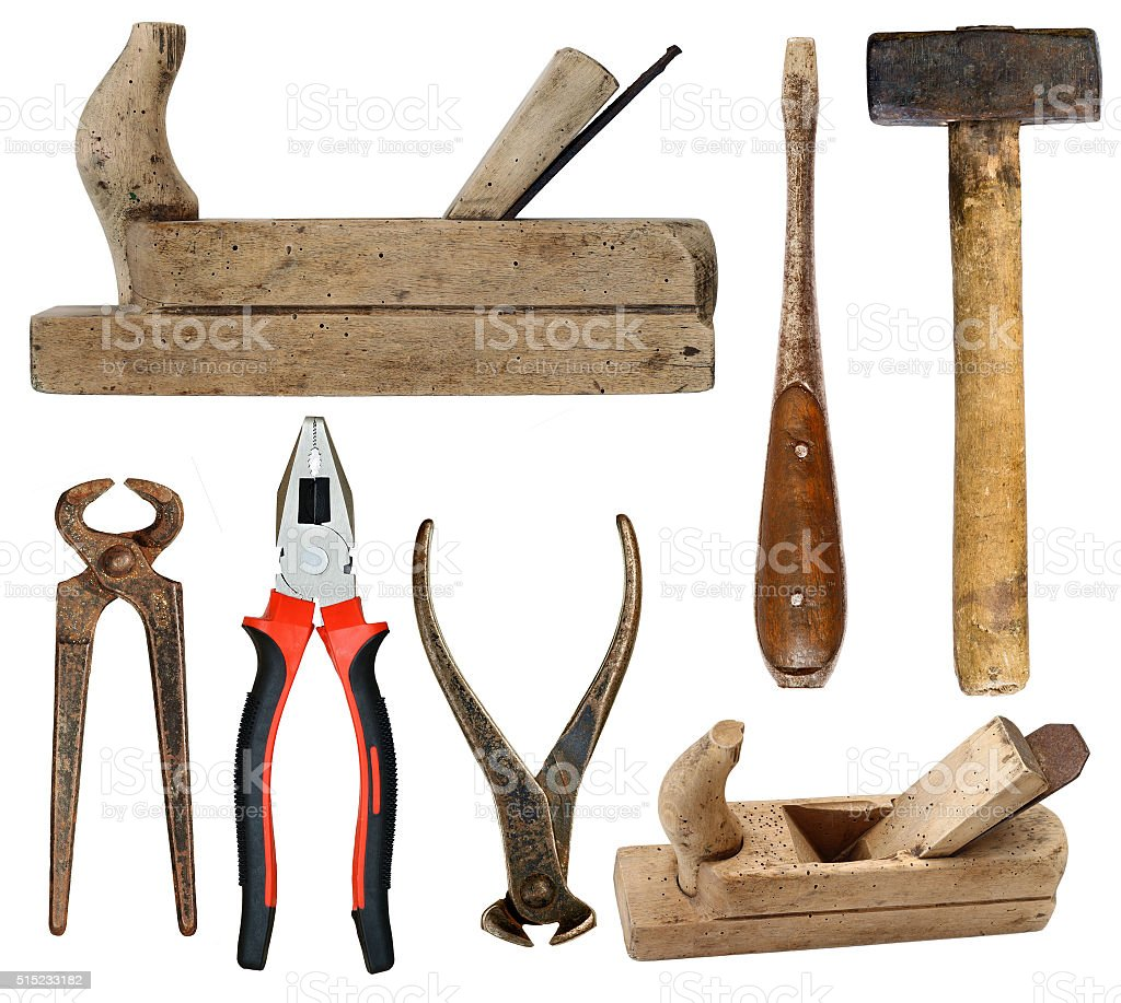 Hand tools on white background stock photo