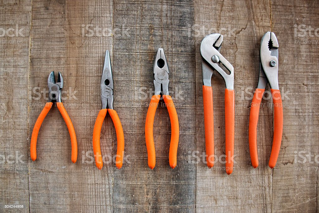 Hand Tools, Wood  Bench, Red, Copy Space, Full Frame Closeup stock photo