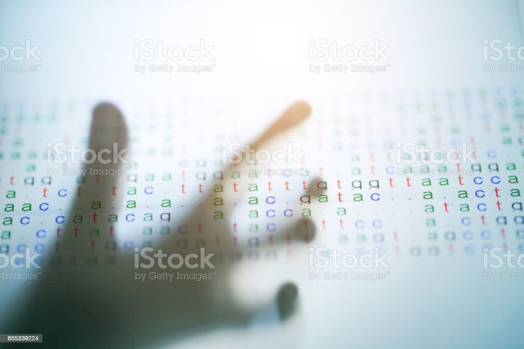 hand touch Screen with DNA code stock photo
