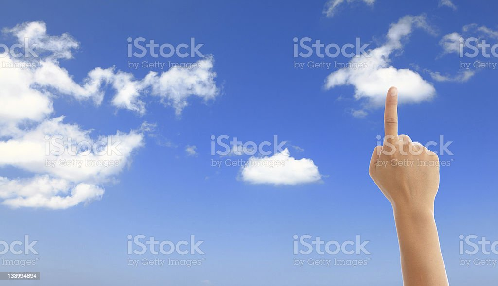 Hand touch the cloud royalty-free stock photo