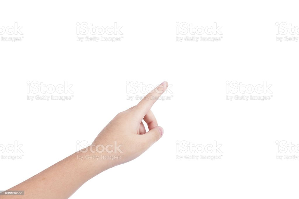 hand touch the virtual screen stock photo