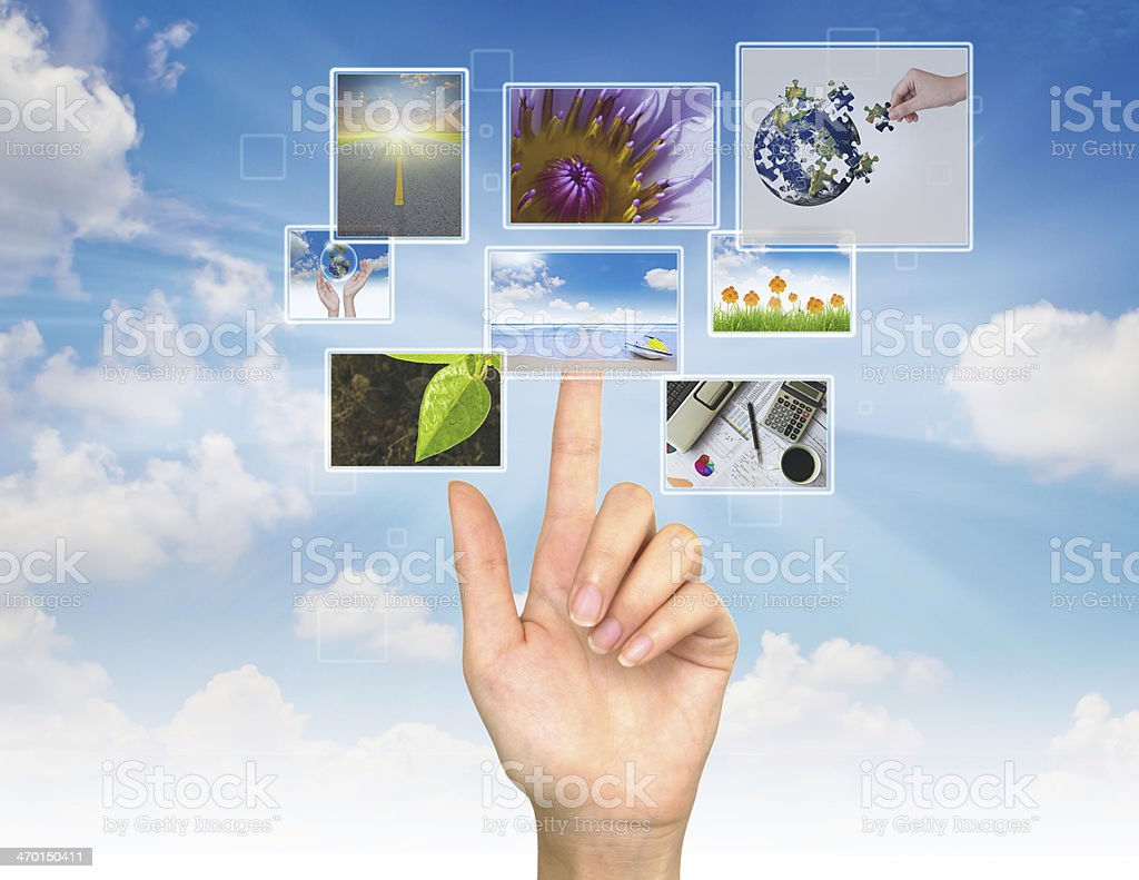Hand touches the flow of image royalty-free stock photo