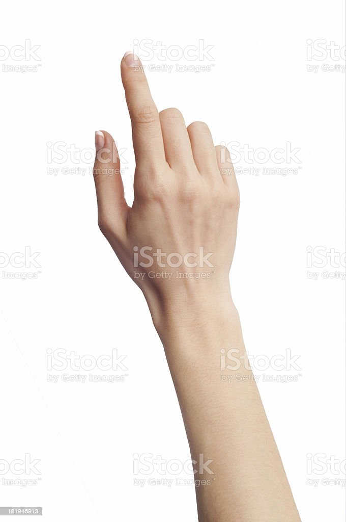 A hand touching a virtual blank screen stock photo