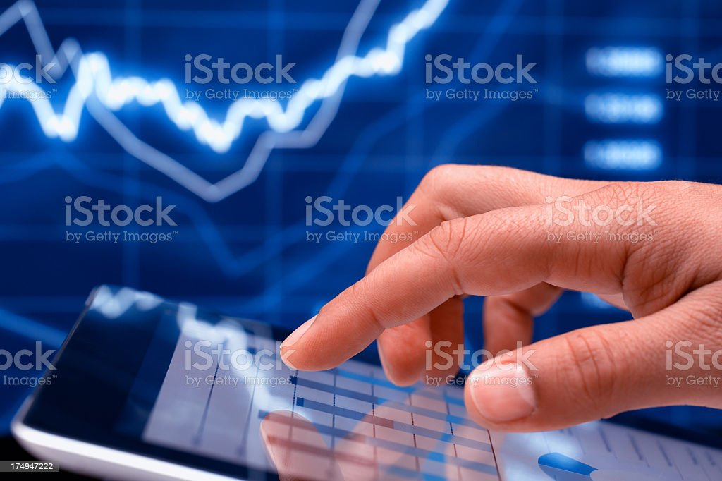 Hand Touching Digital Tablet royalty-free stock photo