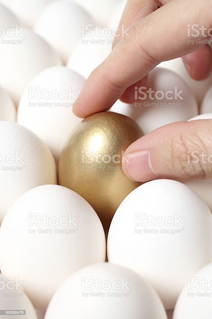Hand Touching Gold Egg from a Crowd of Ordinary Eggs royalty-free stock photo