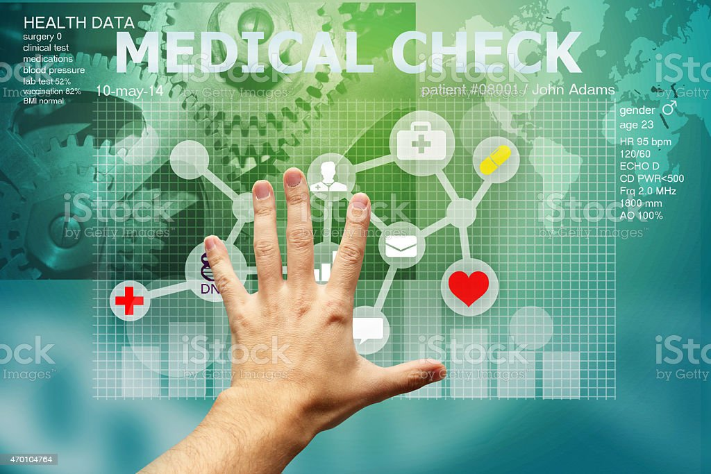 hand touching medical interface stock photo