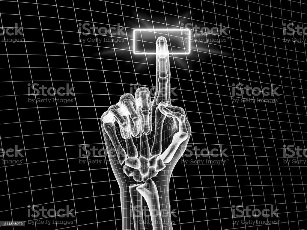 Hand touching on virtual screen stock photo