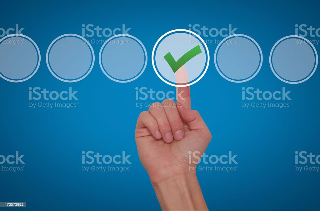 hand touching, pressing modern button and ticking check box stock photo