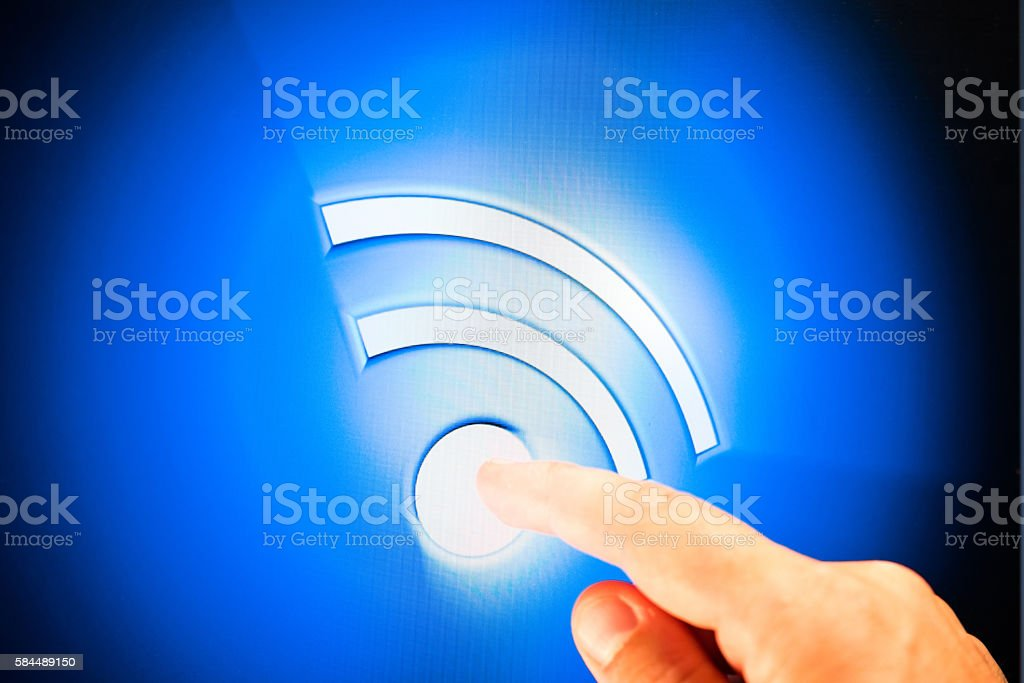 Hand touching rss computer icon stock photo