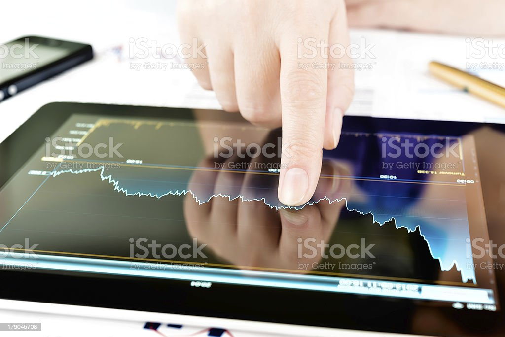 Hand touching screen of tablet pc royalty-free stock photo