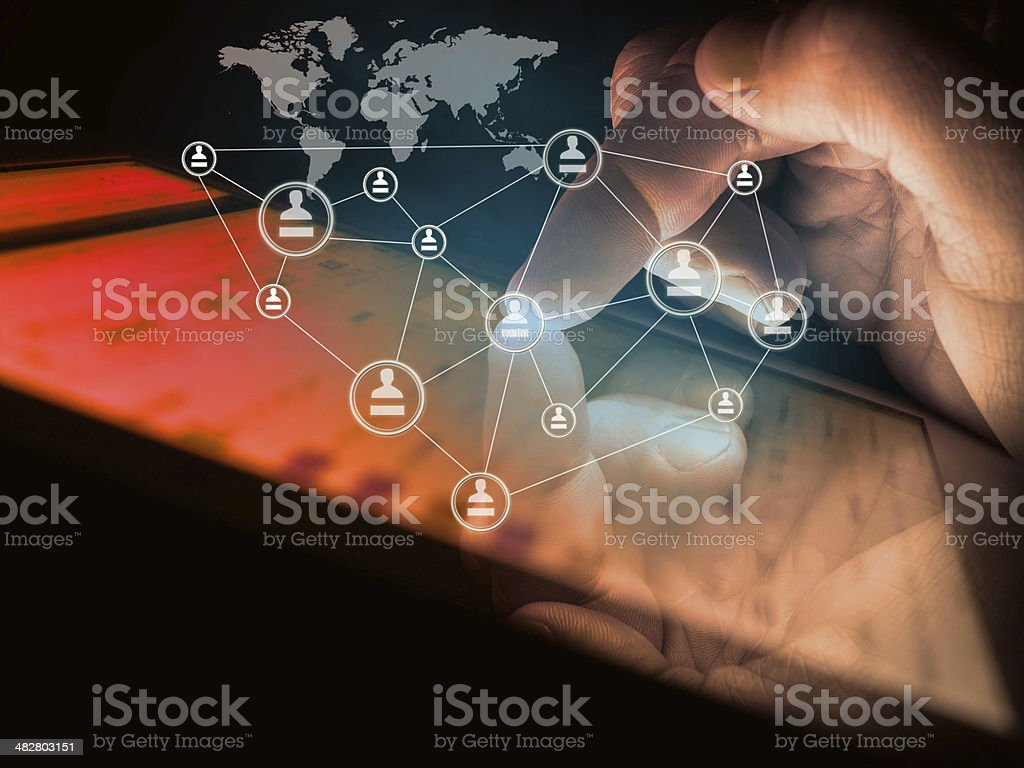 hand touching touch pad, social media concept stock photo