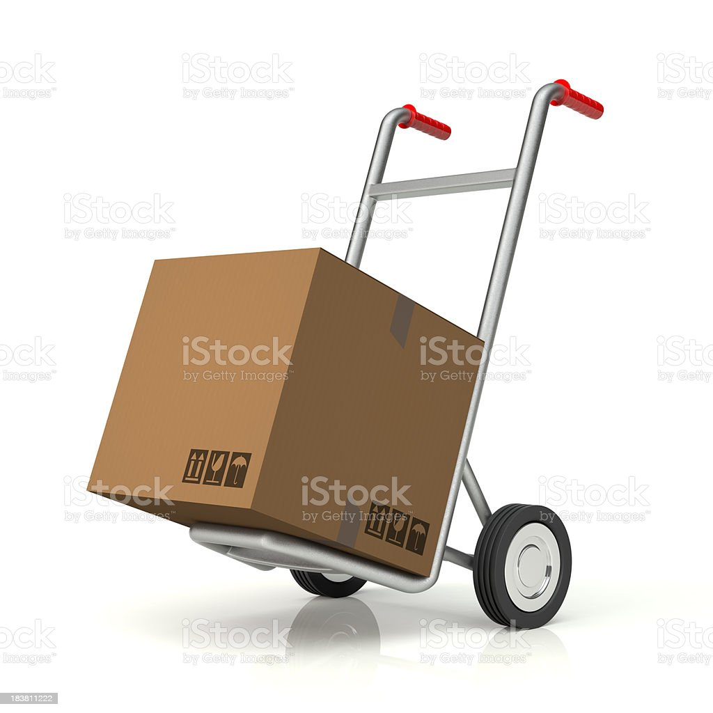 Hand Truck and Blank Cardboard Box royalty-free stock photo