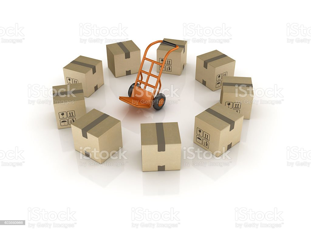 Hand Truck and Cardboard Boxes stock photo