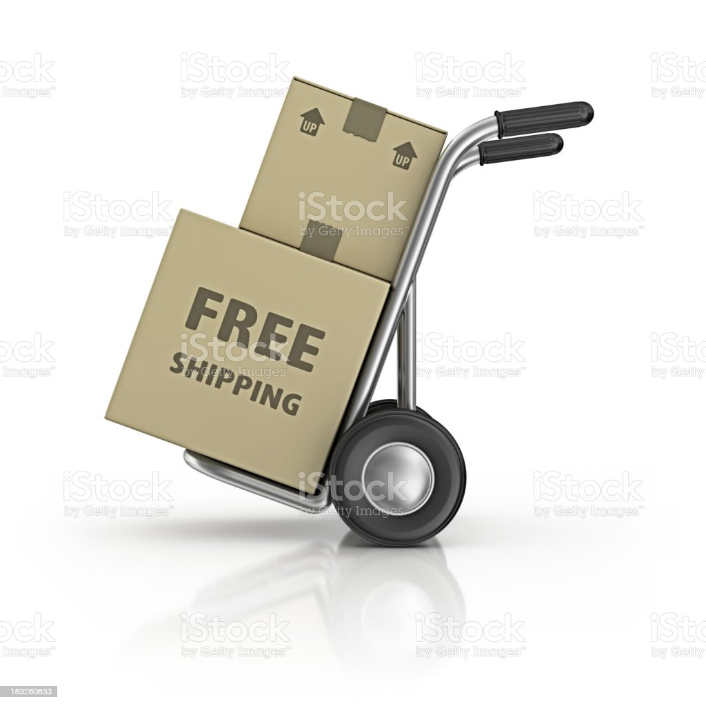hand truck and carton boxes royalty-free stock photo
