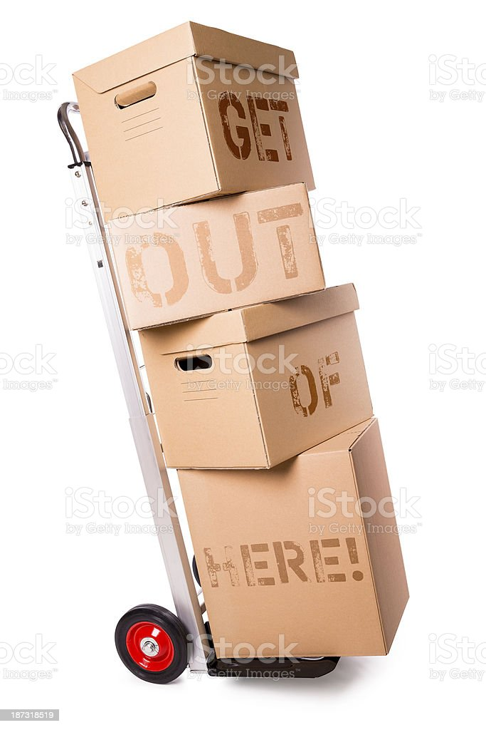 hand truck and carton boxes (clipping path) royalty-free stock photo