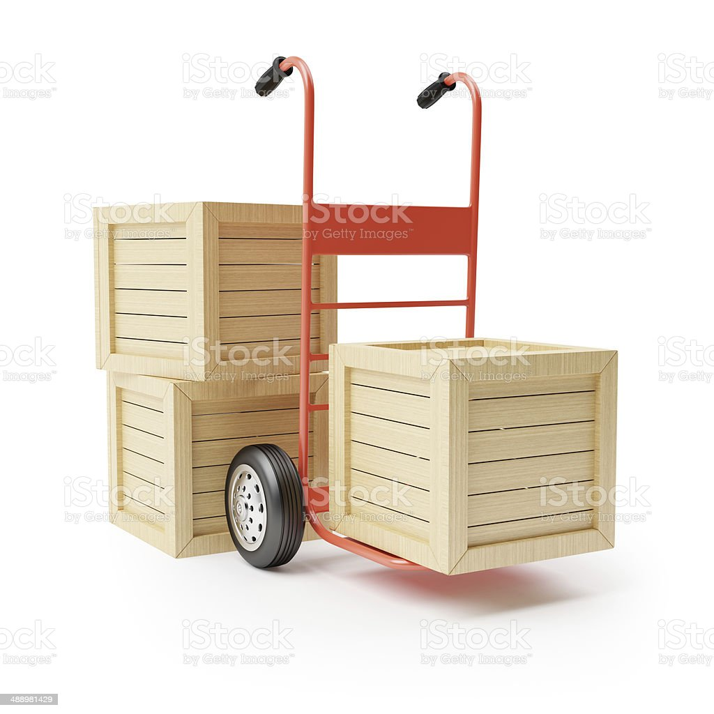 Hand truck and wooden boxes royalty-free stock photo