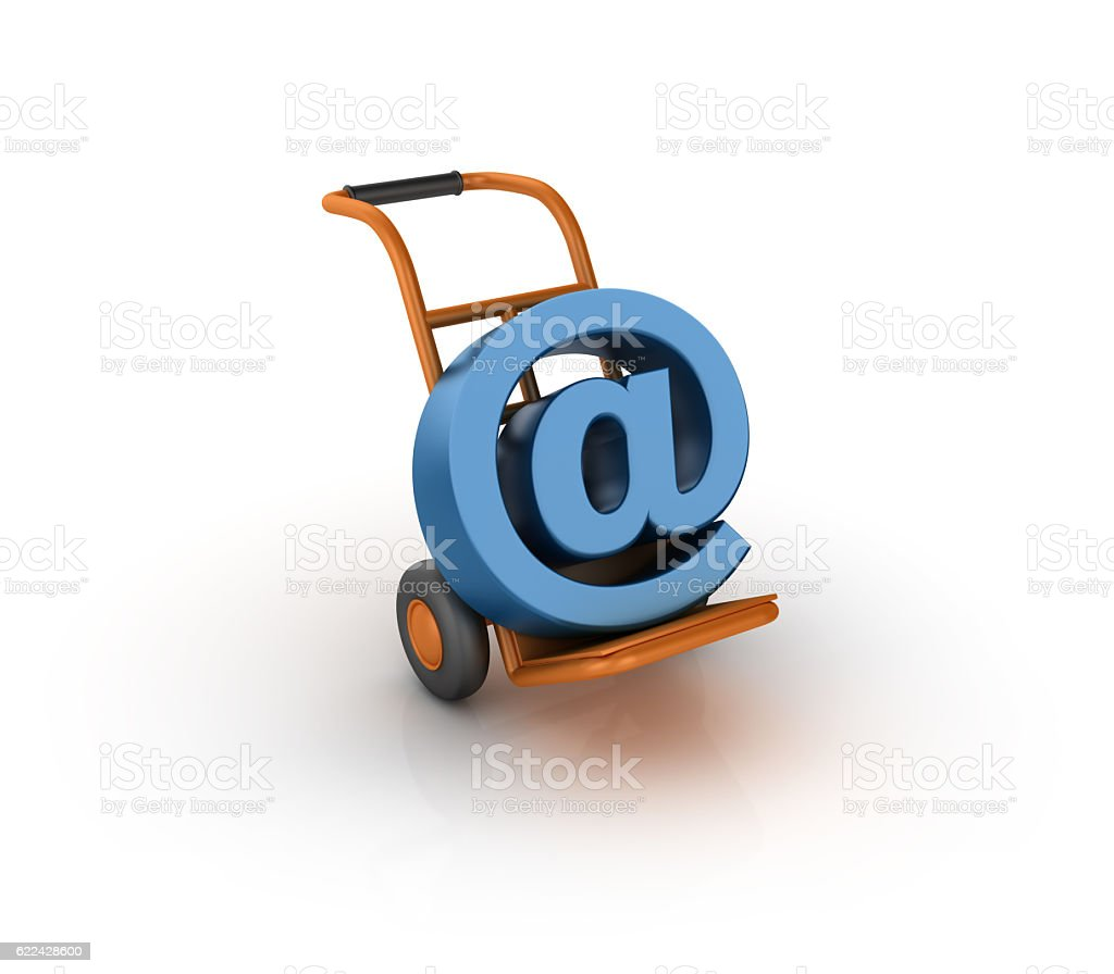 Hand Truck Carrying an Email Symbol - 3D Rendering stock photo