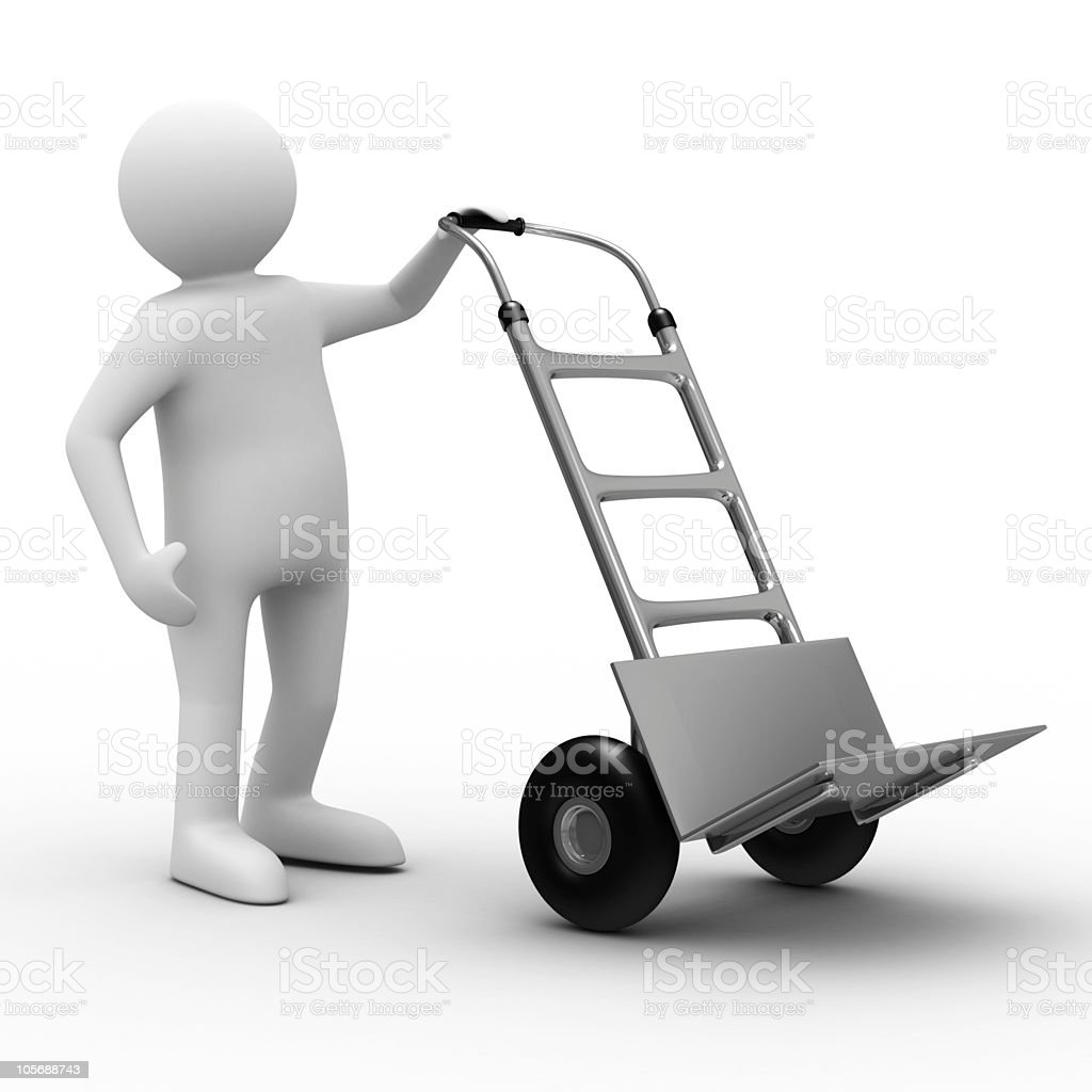 hand truck on white background. Isolated 3D image royalty-free stock photo