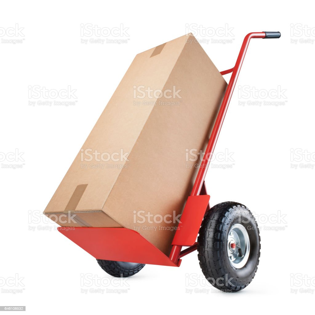 Hand truck with a cardboard box stock photo