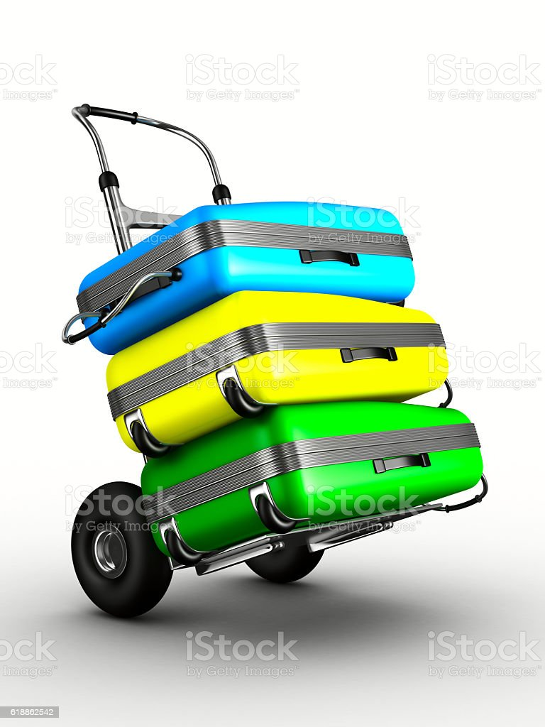 hand truck with bags on white background. Isolated 3D image stock photo