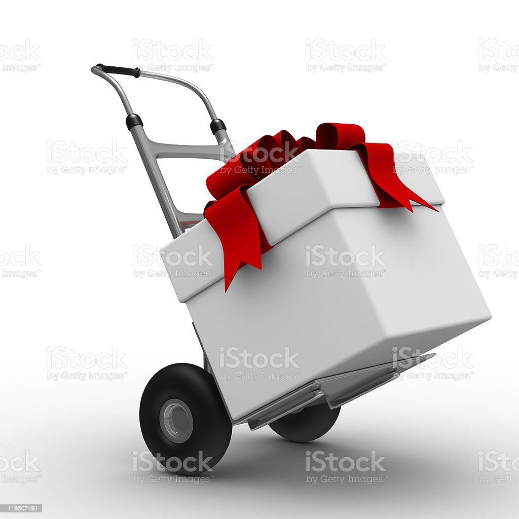 hand truck with box on white background. Isolated 3D image royalty-free stock photo