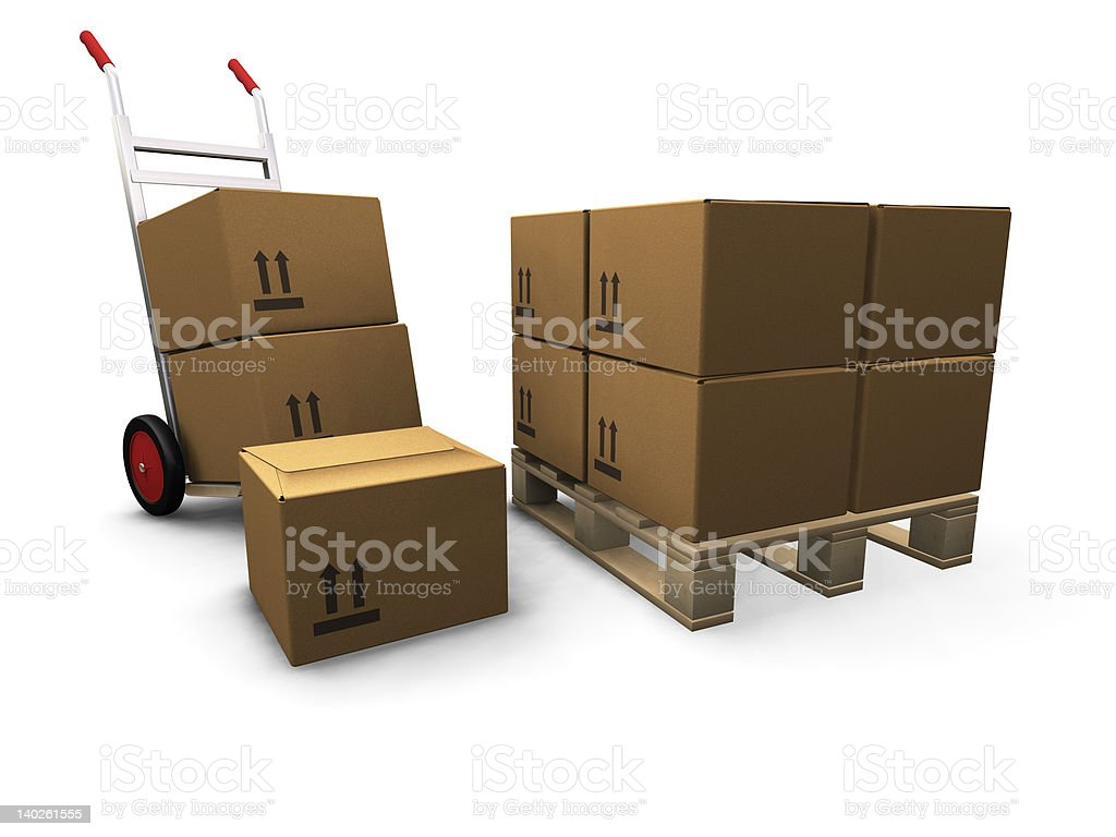 Hand truck with boxes royalty-free stock vector art