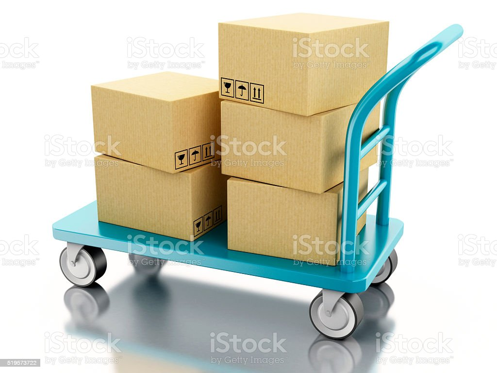 3D hand truck with boxes stock photo