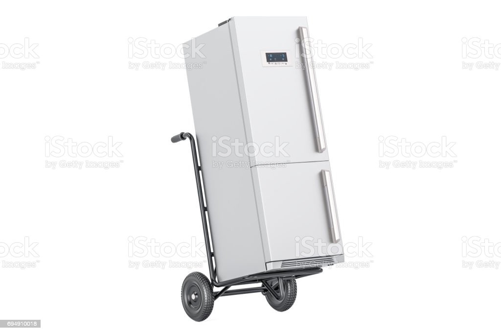 Hand truck with fridge. Appliance delivery., 3D rendering stock photo