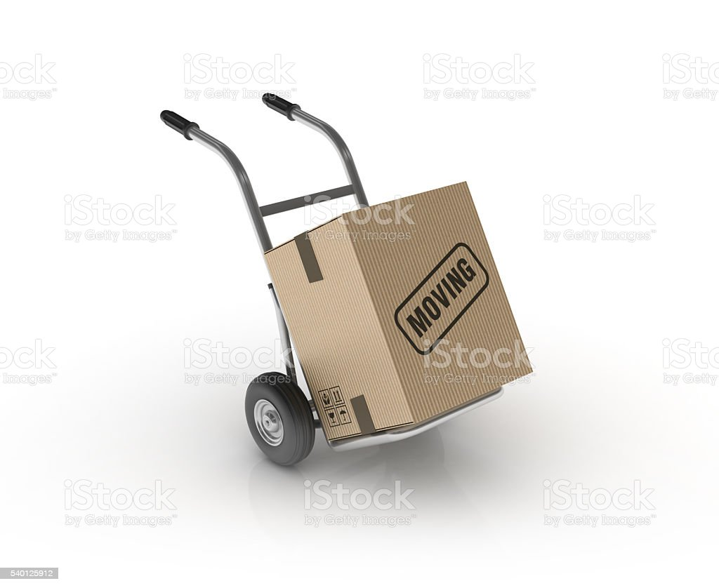 Hand Truck with MOVING Cardboard Box stock photo