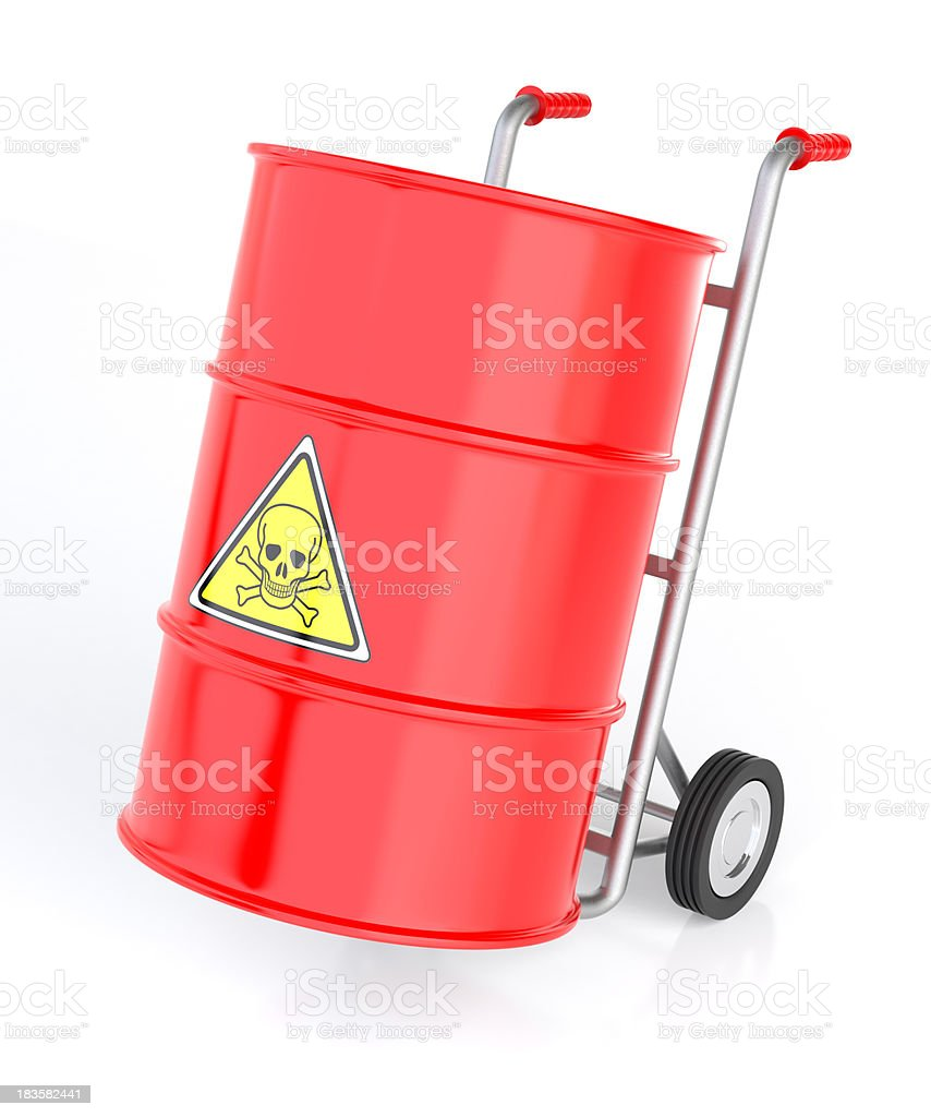 Hand Truck with Toxic Barrels stock photo