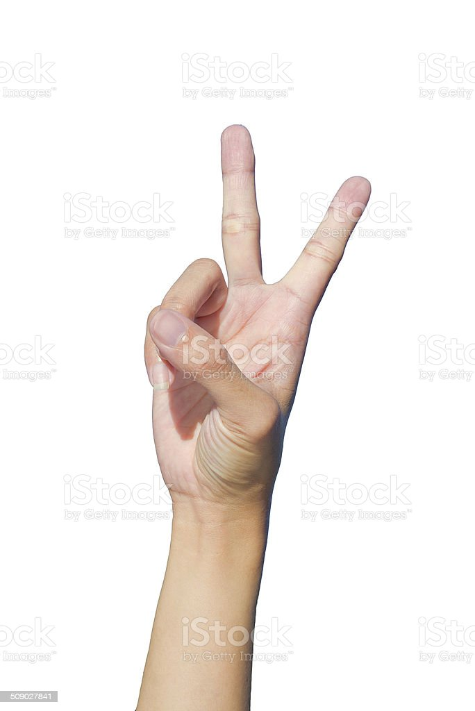 Hand two fingers up victory hand sign write back royalty-free stock photo