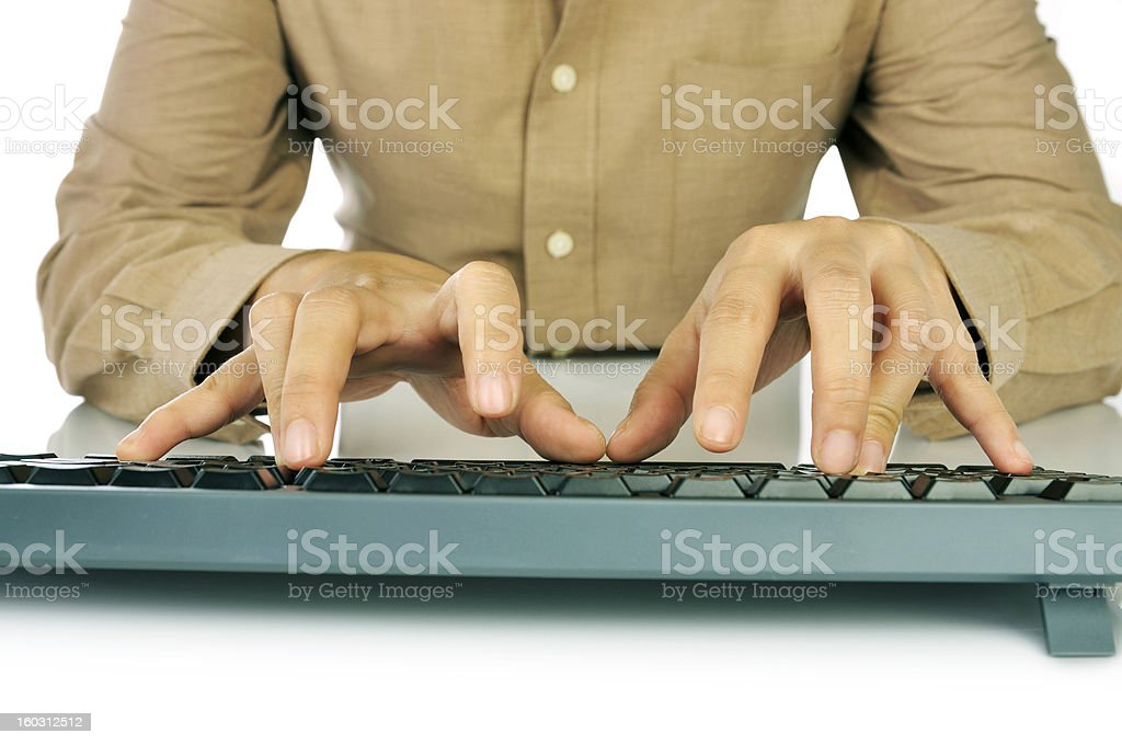 Hand Typing Keyboard royalty-free stock photo