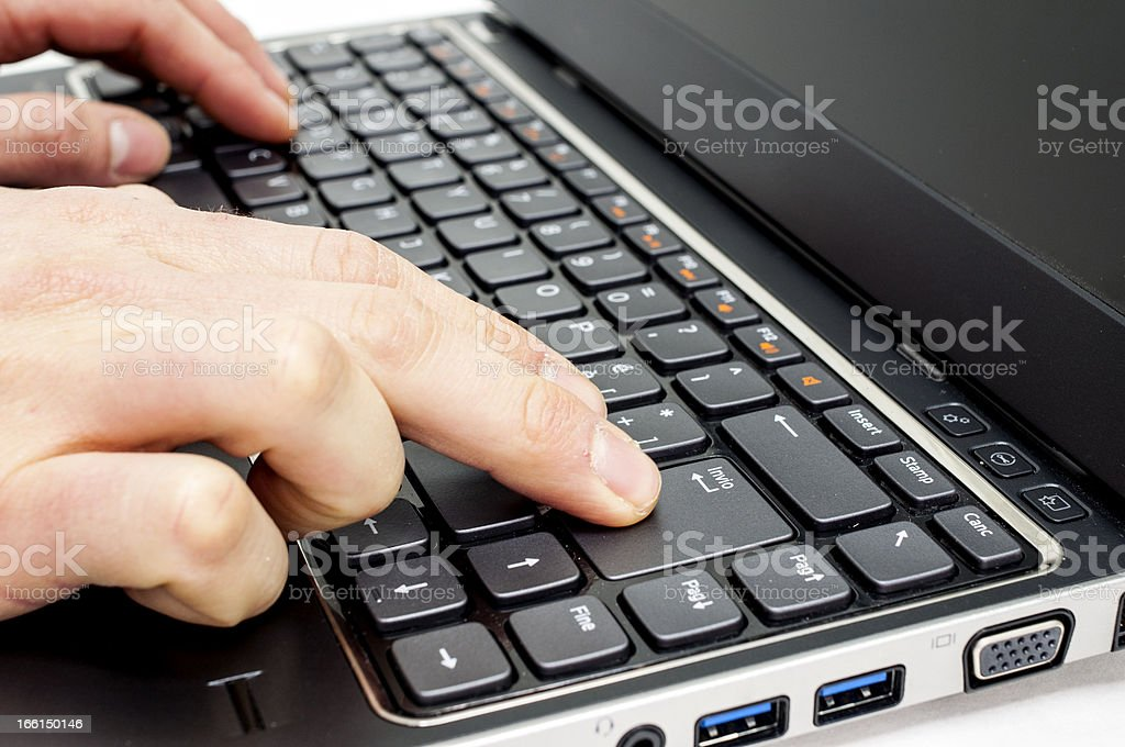 Hand typing royalty-free stock photo