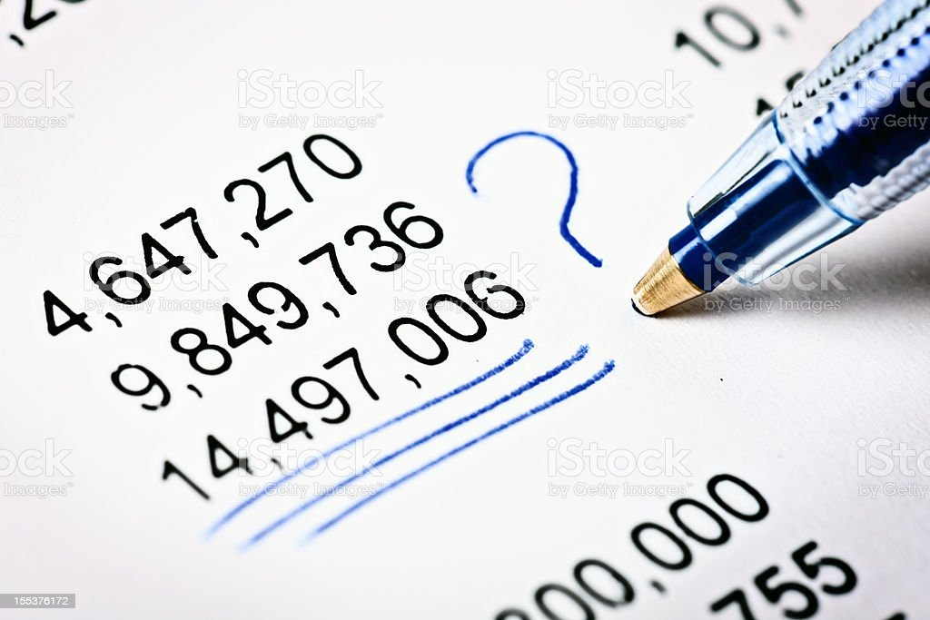 Hand underscores and queries addition on line of figures royalty-free stock photo