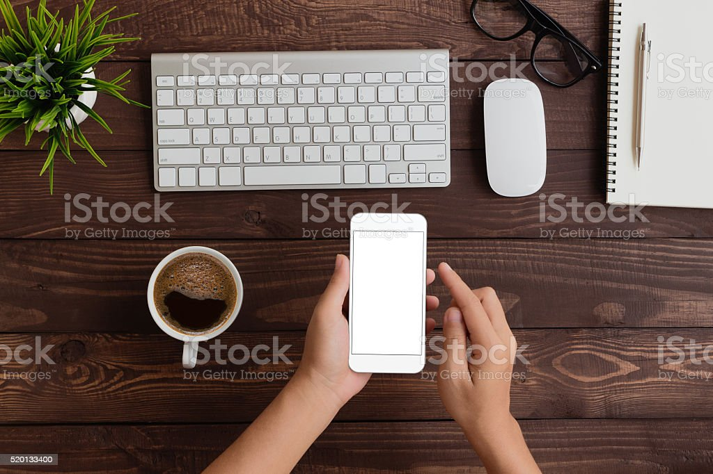 hand use phone blank screen top view stock photo