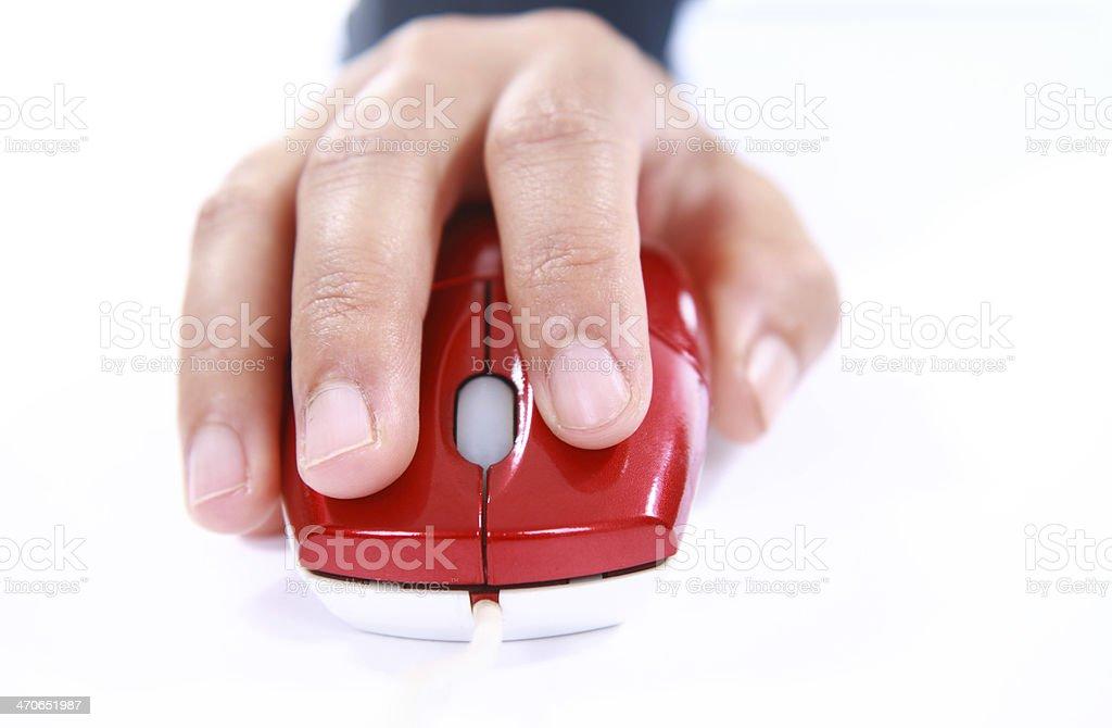 Hand mit einer Computermaus Lizenzfreies stock-foto