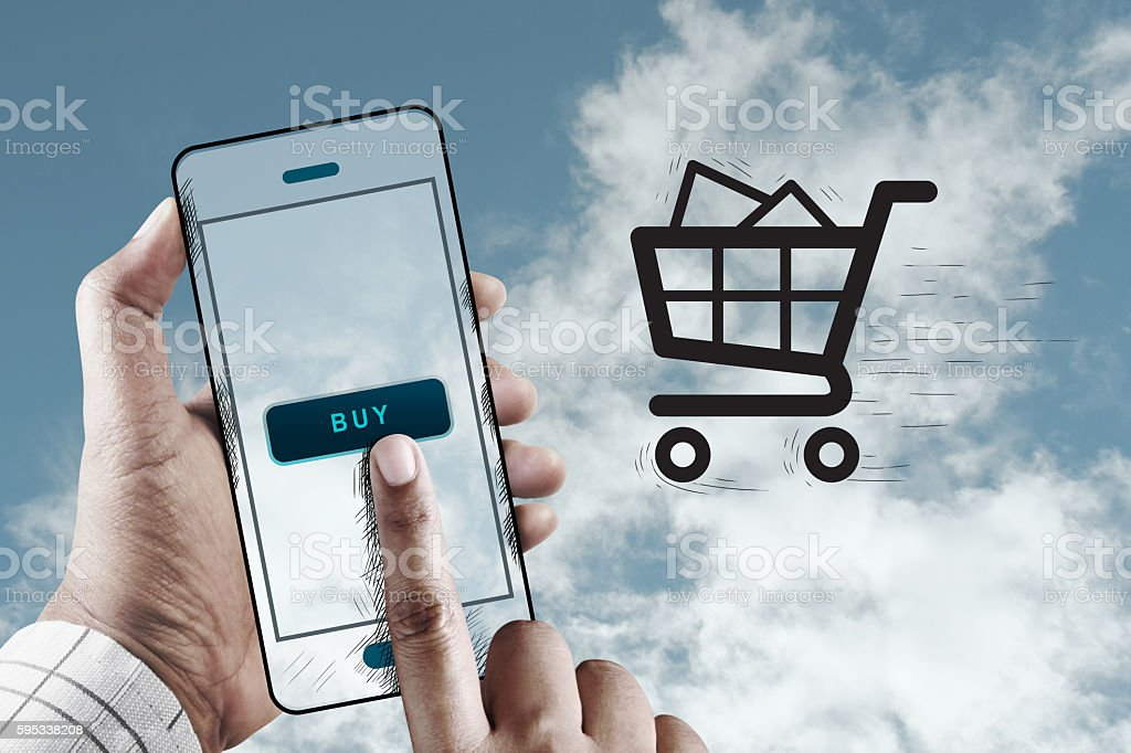 Hand Using Mobile to Shopping, Mobile Online Marketing Concept stock photo