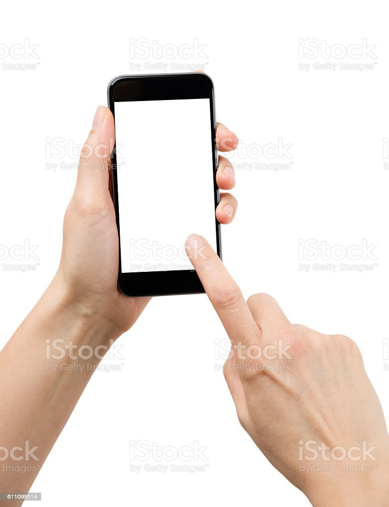 hand using smartphone, with clipping path stock photo