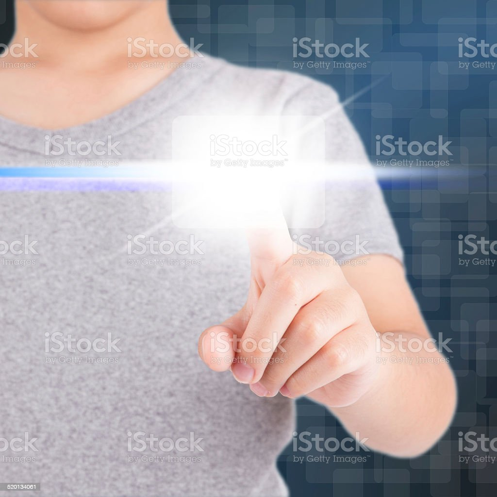 hand using touch screen interface stock photo