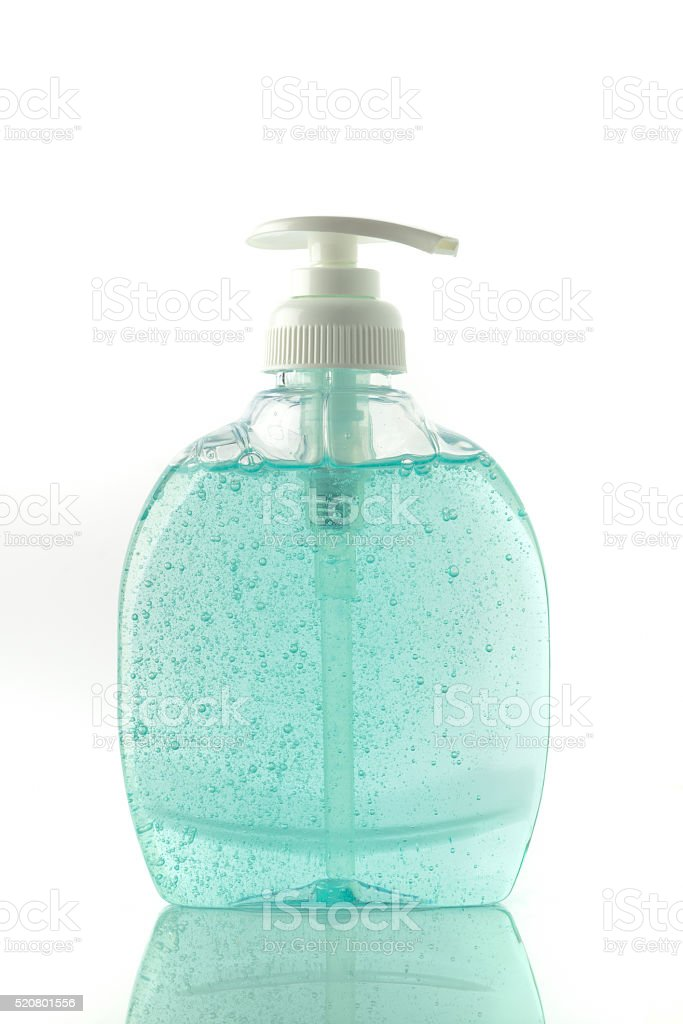 Hand Wash in Turquoise Color on White Background stock photo