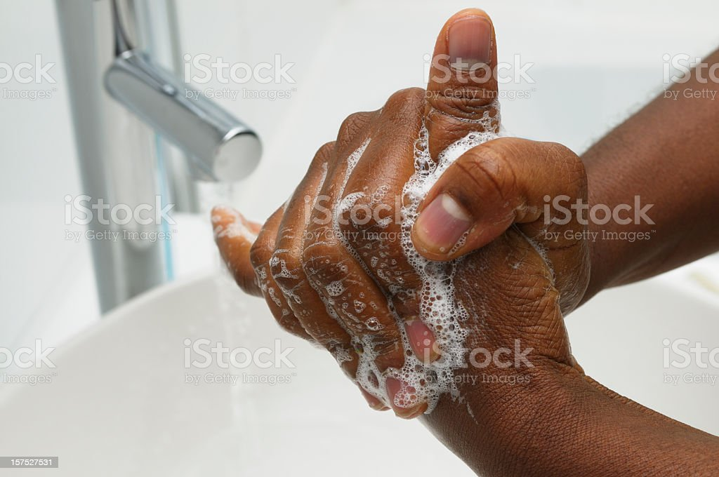 Hand Washing - Rotational Rubbing of Thumb stock photo