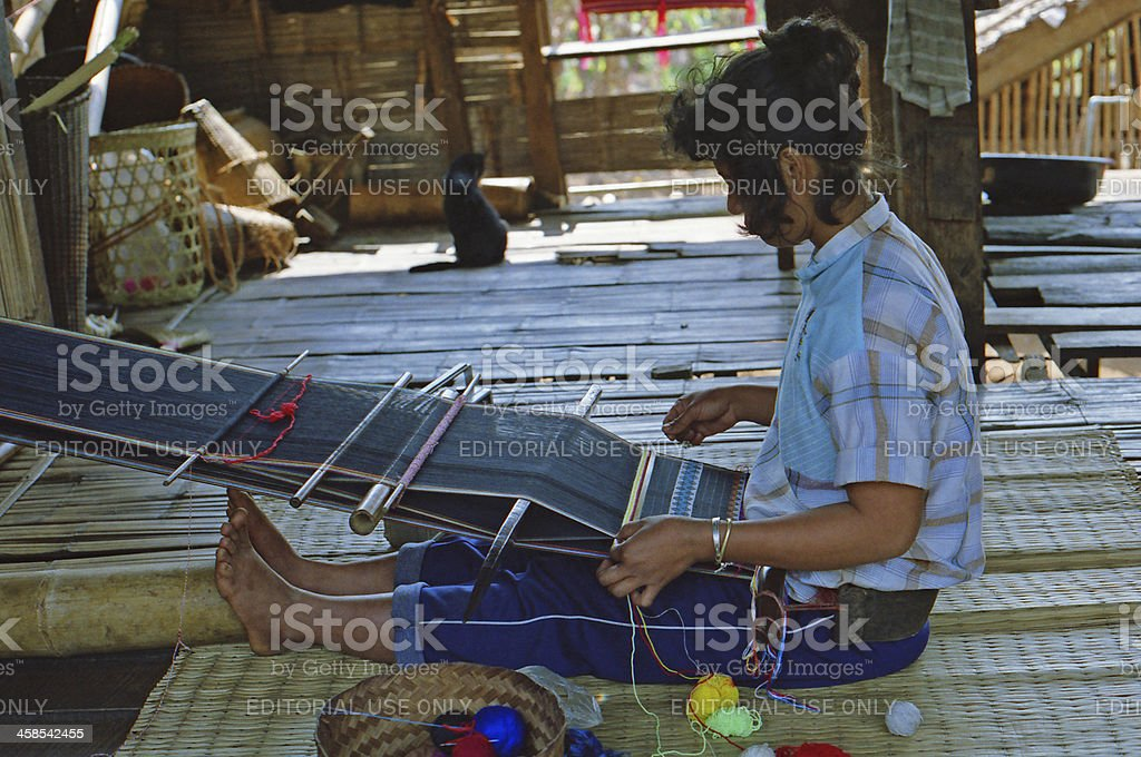 Hand weaving Thailand stock photo