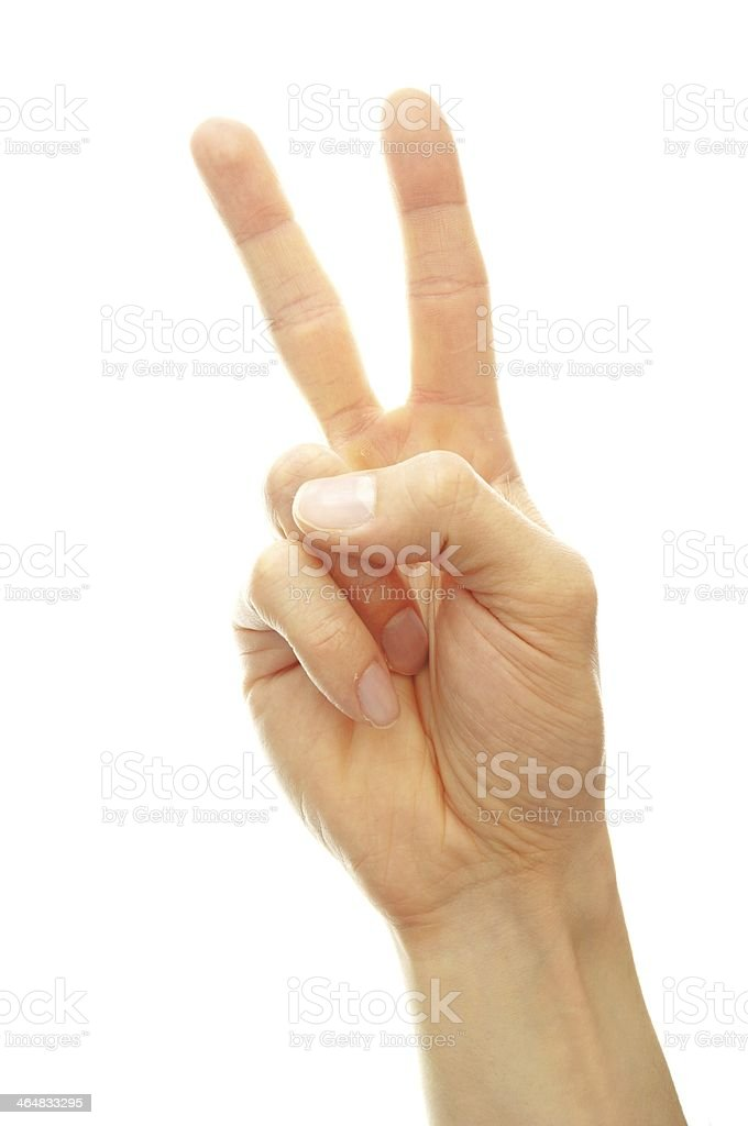 hand white peace sign stock photo