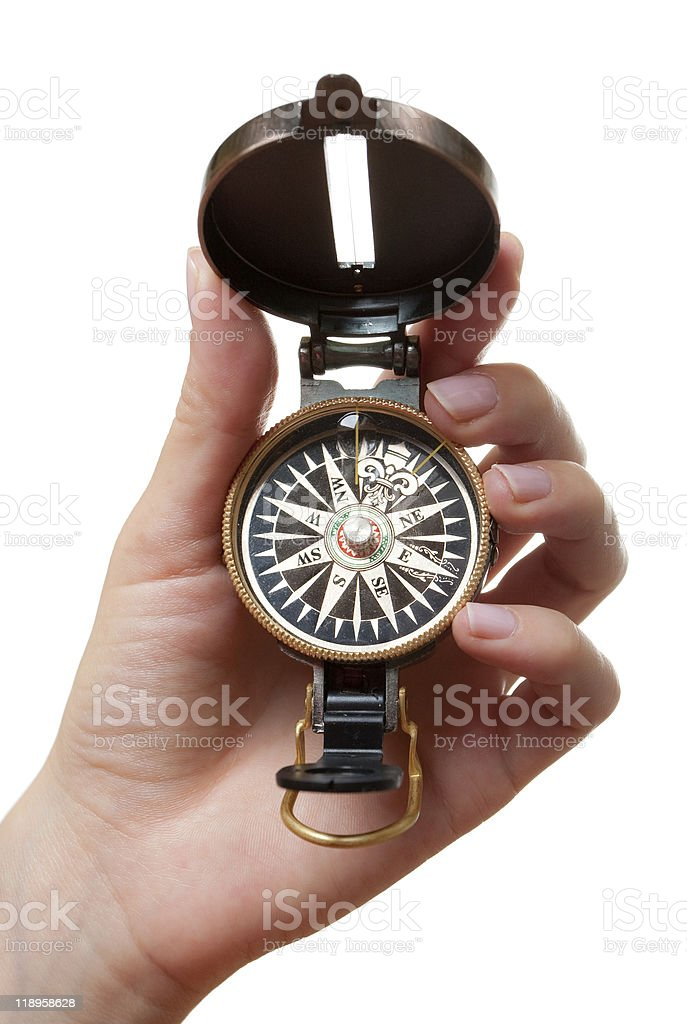 Hand with a compass stock photo