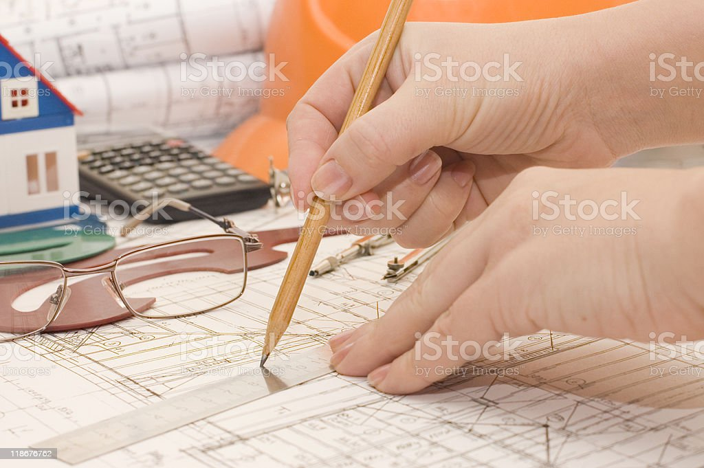Hand with a pencil royalty-free stock photo