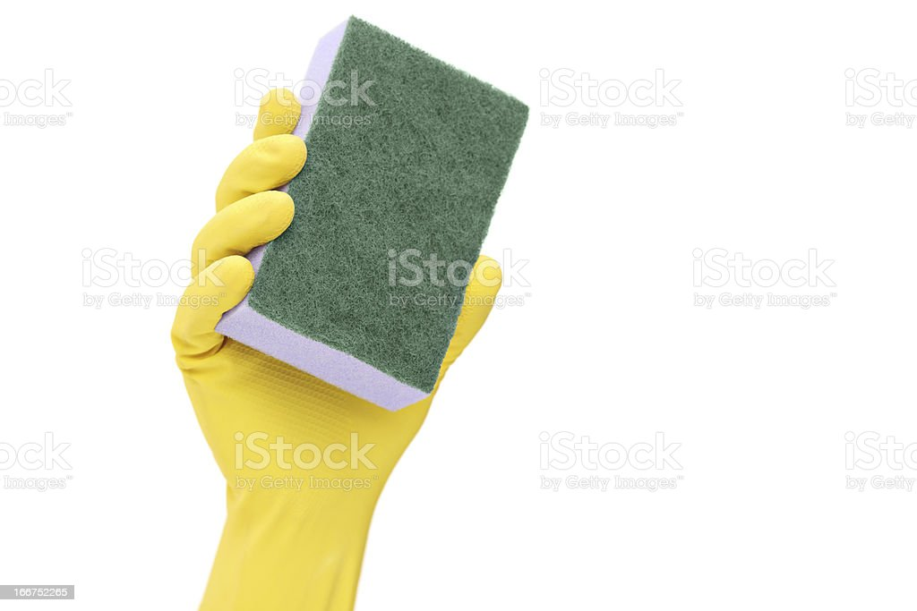 Hand with a rubber glove holding sponge royalty-free stock photo