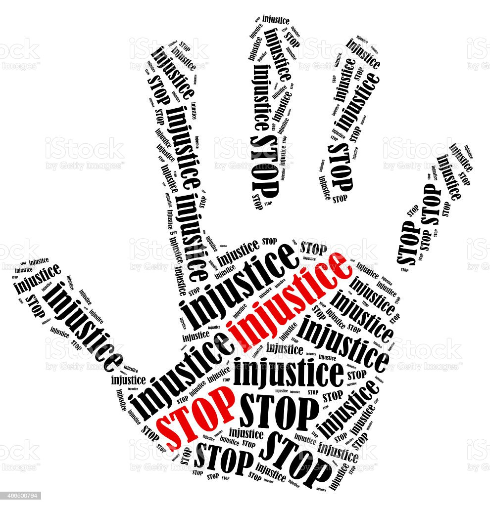 A hand with a word cloud filling with stop and injustice stock photo