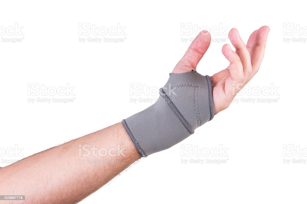 Hand with a wrist strap stock photo
