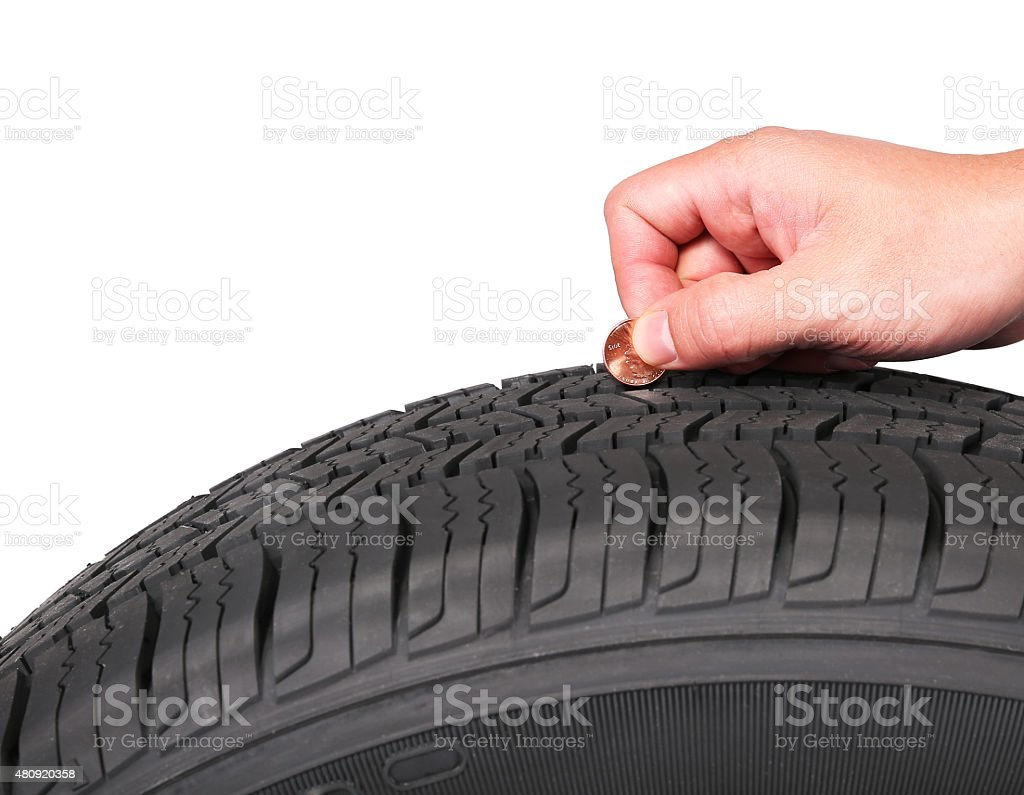 hand with american cent coin check tire condition isolated stock photo